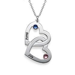 925er Silber Herzkette mit Gravur und Swarovski-Kristall product photo