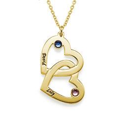 Romantische Herz-an-Herz Halskette mit Geburtssteinen aus 18k product photo