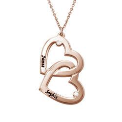 Mit Roségold beschichtete Herz-in-Herz-Halskette mit Diamanten product photo