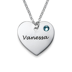 Personalisierte Herzkette mit Gravur und Swarovski-Kristall Produktfoto