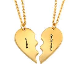 Gebrochene Herzkette für Pärchen in vergoldem Silber product photo