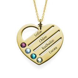 Vergoldete Herzkette für Mutter mit Geburtssteinen product photo