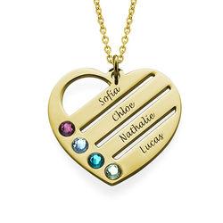Gold Vermeil Herzkette mit Geburtssteinen Produktfoto
