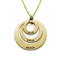 Gravierte 417er Gold Kette mit drei Ringen für Mütter product photo