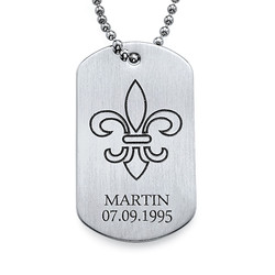 Heraldische Lilie Dog Tag Kette aus Silber product photo