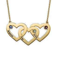 Vergoldete verflochtene Herzenkette für Mama mit Gravur und product photo