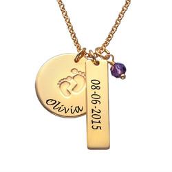 Mutterschmuck - Vergoldete Babyfüsse Charm Halskette Produktfoto