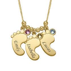 Mutterschmuck - Vergoldete Babyfuß Halskette mit Gravur product photo