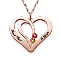 Gravierte Geburtssteinkette für Paare - rosévergoldet product photo
