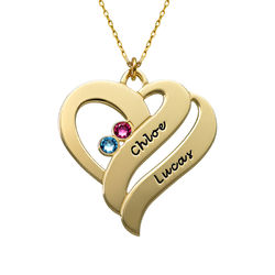 Geburtssteinkette aus 417er Gold mit zwei Herzen für Mütter product photo