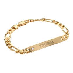 Herrenarmband mit Gravur aus 750er-Gold-Vermeil mit Diamant Produktfoto