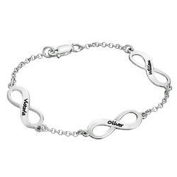 Mehrfach Infinity-Armband mit Gravur aus Silber product photo
