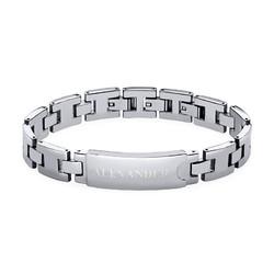 Edelstahl-Glieder-Armband mit Gravur für Herren product photo