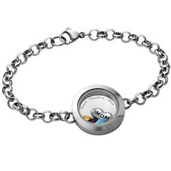 Graviertes Armband aus Edelstahl mit Medaillon für Mutter oder product photo