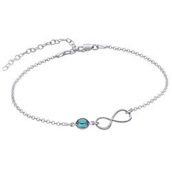 Infinity Fußkette aus Silber mit Geburtsstein product photo
