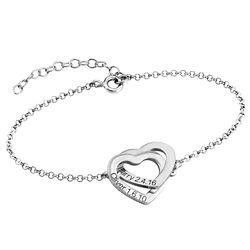 Verschlungenes Herzarmband mit Gravur aus Sterlingsilber Produktfoto