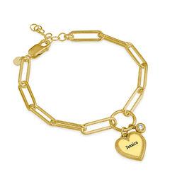 Herz Gliederarmband aus Gold Vermeil mit Diamant Produktfoto