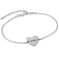 Gravierbare Fußkette mit Herz aus Silber Produktfoto