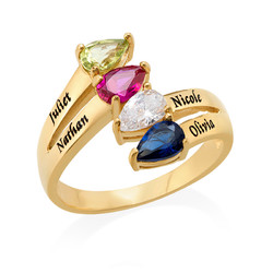 Vergoldeter Ring mit vier Geburtssteinen für Mütter product photo