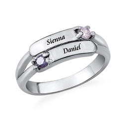 Doppelter Geburtsstein Ring mit Gravur Produktfoto