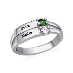 Gravierbarer Geburtsstein Ring aus Sterling Silber Produktfoto