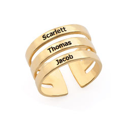 Vergoldeter Ring mit drei Namen Produktfoto