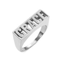 Stempel Namen Ring aus 925er Silber Produktfoto
