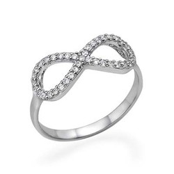 925er Silber Infinity-Unendlich Ring mit Zirkonia Edelsteinen product photo