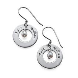 925er Silber Gravierte Ohrringe mit Geburtsperle product photo