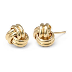 Liebesknoten-Ohrringe mit Gold-Beschichtung Produktfoto