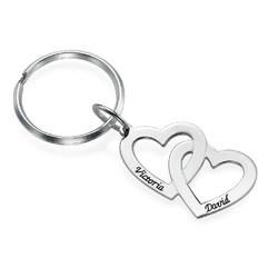 Silber Herz in Herz Schlüsselanhänger Produktfoto