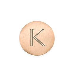 Rosegold vergoldetes Plättchen mit Initiale für Charm Medaillon Produktfoto