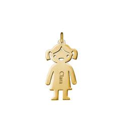 Gravierbarer Mädchen Charm Anhänger - Vergoldet Produktfoto