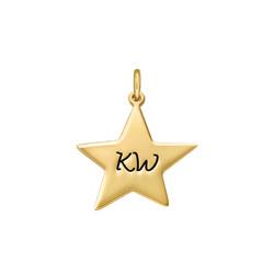 Gravierbarer Stern Charm Anhänger - Vergoldet Produktfoto