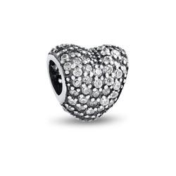 Herz Charm-Perle mit Zirkonia Produktfoto