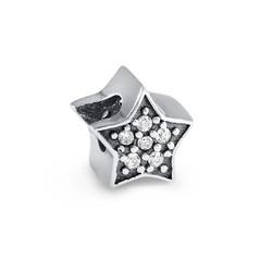 Stern Charm-Perle mit Zirkonia Produktfoto