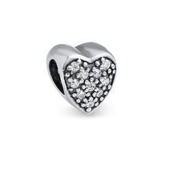 Herzförmige Charm-Perle mit Zirkonia Produktfoto