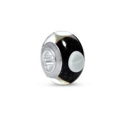 Schwarz/Weiß Glasperle Produktfoto