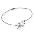 Silber Infinity-Armband mit Initiale und Süßwasserperle