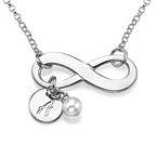 Silber Infinitykette mit Initiale und Süßwasserperle
