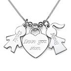 925er Silber Kette mit Kinder Anhänger und Love you Mom Herz