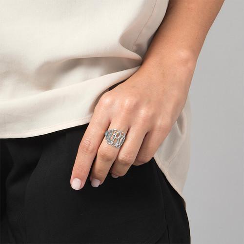 925er Silber Monogramm Ring - 1