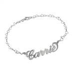 925er Silber Namensarmband/Fußband mit Herzkette im