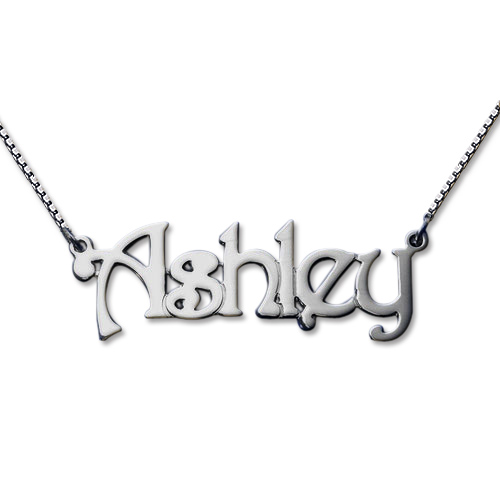 925er Silber Namenskette mit Venezianerkette