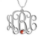 925er Monogramm Silberkette mit Initialen und Swarovski