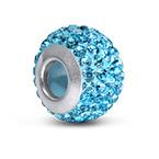 Aquamarine Geburtsstein Glasperle mit Zirkonia