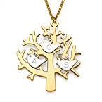 Baum Kette aus 750er vergoldetem 925er Silber mit 925er Silber Charms
