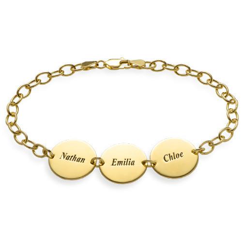 Besonderes Geschenk für Mütter - 18K vergoldetes Disk Namensarmband