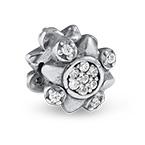 Blumen Charm-Perle mit Zirkonia
