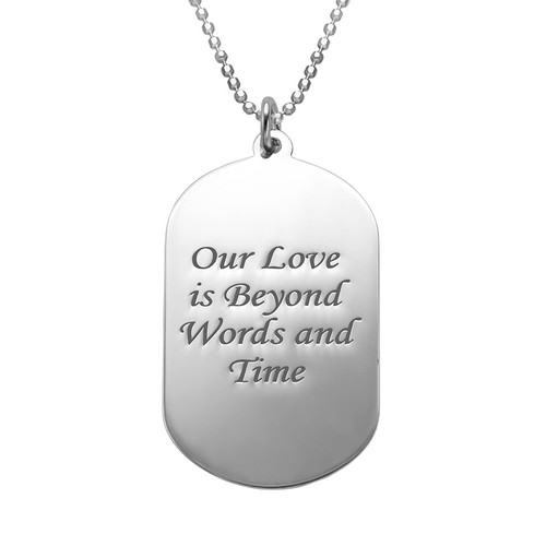 Dog Tag Foto Halskette aus Sterling - 1
